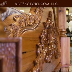Custom Hand Carved Canopy Bed: Fine Art Designs By H. Nick - the finest quality furniture available anywhere at any price King Platform Bed Frame, Latest Bed, Wood Bed Design, Antique Beds, Wood Beds, Luxurious Bedrooms, Quality Furniture, Wooden Bedroom, Bedroom Furniture