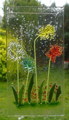 Flower Fused Glass Flower Suncatcher. Red, Yellow, Turquoise, Amber Flower Tree Suncatcher. Fused Glass Art. Wall Art. Suncatcher by Livicraft on Etsy
