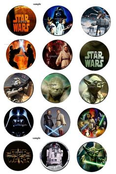 starwars { 30 Precut Bottlecaps Images 1 inch Circle birthday scrap book