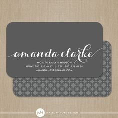 Personalized Pattern Modern Calling Card / Business Card / Mommy Card - CUSTOMIZE Colors and Content