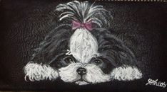 Shih Tzu Dog Custom Painted Ladies Leather by daniellesoriginals, $32.95