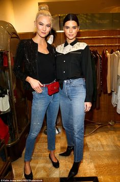 Model mayhem: Karlie pictured with Kendall, 21, at an event in Los Angeles last week...