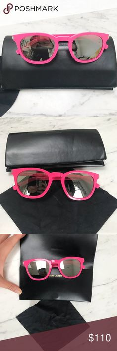 SAINT LAURENT Pink Mirrored Sunglasses SAINT LAURENT Paris authentic bright pink sunglasses with silver mirrored lenses. Comes with branded case and cleaning wipe. Featured silver square accent at temples and embossed SAINT LAURENT logo visible on glasses stems. These are not YSL, but new Saint Laurent purchased a year ago. Great condition! Just pairing down my wardrobe to prepare for a move. Super chic and bright! Saint Laurent Accessories Sunglasses