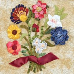 Ribboned Bouquet from The Art of Elegant Hand Embroidery, Embellishment and Appliqué by Janice Vaine