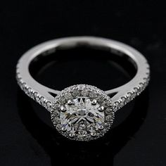 Halo Style Micro Pave PLatinum Engagement Ring Mounting by OroSpot, $1699.00
