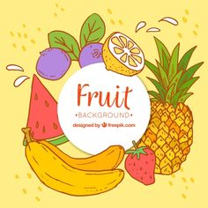 Hand-drawn background of colored fruits Free Vector