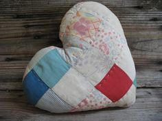 Quilted Heart Pillow, Country Home Decor