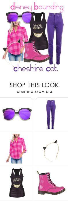 """Cheshire Cat"" by fashion-dino-394 on Polyvore featuring ZeroUV, Versace Jeans Couture, Ami Sanzuri, Kate Spade, Dr. Martens and disneybounding"