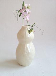 White vase ceramic. Simple modern shape. White pottery vase. | Etsy