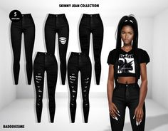 BADDDIESIMS SKINNY JEAN COLLECTION [ PUBLIC... - BADDDIESIMS Sims 4 Mods Clothes, Sims 4 Clothing, Sims Mods, Sims 4 Cas, Sims Cc, Sims 4 Black Hair, Sims Baby, Sims 4 Dresses, Sims4 Clothes