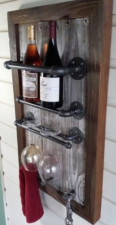DIY Wine Rack, Reclaimed Wood, barn wood, Industrial, pipe- photo only for DIY inspiration Plumbing Pipe Furniture, Industrial Furniture, Rustic Furniture, Wine Barrel Furniture, Reclaimed Wood Furniture, Modern Furniture, Art Furniture, Furniture Design, Simple Furniture