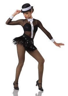 Leotard with attached skirt: black stretch mesh and black spandex. Trim: white spandex, silver button pins, black sequin fringe, and adjustable straps.For hat order # Dance Outfits, Dance Dresses, Party Outfits, Jeane Manson, Baile Jazz, Dance Team Shirts, Dance Costumes Tap, White Spandex, Dance Tights