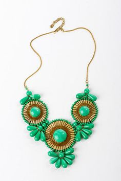 Essential Blooms Statement Necklace in Green available at Francesca's Collections! 3 great Gwinnett locations to serve you! (Mall of Georgia in Buford, Avenue at Webb Gin, The Forum on Peachtree Parkway) @francesca's®