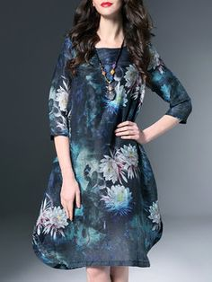 Navy Blue Shift Elegant Floral Midi Dress
