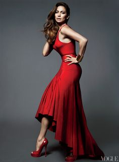 JLO, Wearing Michael Kors cashmere tank top and cotton-and-silk skirt. Yves Saint Laurent belt.
