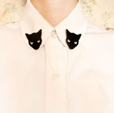 Fashionable Glamour Punk Black Cat Collar Breastpin | eBay