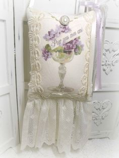 Violets French friendship KEEPSAKE Gift Pillow w/matching tag and sachet
