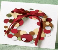 Easy DIY Holiday Crafts - Paper Wreath with Red Bow - Click pic for 25 Handmade Christmas Cards Ideas for Kids