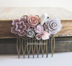 Plum Wedding Hair Comb Mauve Taupe Dusty Pink Soft Lilac Light Purple Flower Head Piece Woodland Bridal Floral Hair Pin Bridesmaid PM