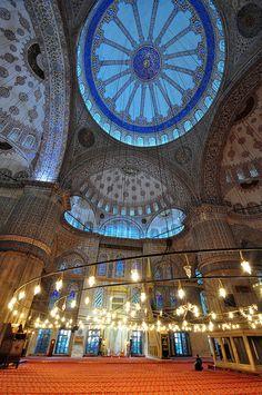 Inside the Blue Mosque, Turkey