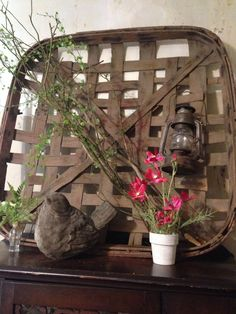 using a tobacco basket in the decor for spring and summer