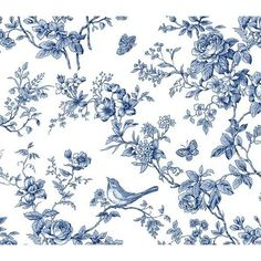 Blue and White Bird Toile Wallpaper Home Improvement