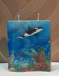 Motivkerze Unter Wasser Motiv Handgemachte  Kerze Dekokerze  Geschenk Kerze