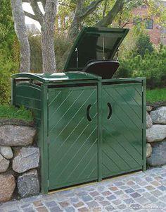 Mülltonnenverkleidung SYLT - 2 x 120 Liter - Hartholz grün lackiert Trash Can Covers, Pot Storage, Storage Sheds, Outdoor Furniture, Outdoor Decor, Garden Design, Woodworking, Backyard, Pepper Jelly