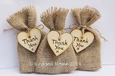 10 x Rustic Hessian Favour Bags & Wood Heart Thank You Tags Wedding Gift Bags