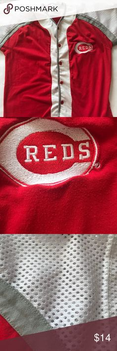 Professional Sports Club Reds Baseball Cotton blend, mesh sleeves, Cincinnati Reds logo, button down, small holes in gray fabric on left side Professional Sports Club Shirts & Tops