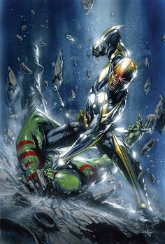 Drax vs Nova by Gabrielle Dell'Otto  Auction your comics on http://www.comicbazaar.co.uk