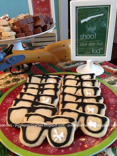 Purple Patch: A Christmas Story themed Christmas Party - You'll Shoot Your Eye Out Cookies Christmas Story Party Ideas, Christmas Story Movie, Its Christmas Eve, Christmas Party Food, Christmas Brunch, Xmas Party, Family Christmas, Christmas Baking, Christmas Themes