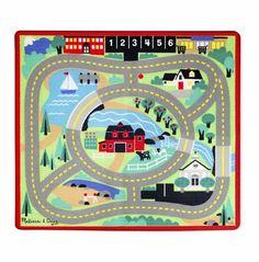 Färgglad matta att köra fordon på. Lek på gatorna, hälsa på hos djuren eller åk ner till vattnet med de fyra medföljande bilarna.