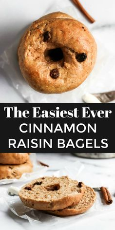 Easy Cinnamon Raisin Bagel Recipe Want homemade bagels that are so simple? This easy bagel recipe requires no boiling and no yeast–ready in less than an hour and so soft and chewy. Cinnamon Raisin is a classic flavor everyone loves! Cinnamon Bagels, Cinnamon Raisin Bagel, Brunch Recipes, Breakfast Recipes, Breakfast Bagel, Healthy Bagel, Healthy Desserts, Homemade Bagels, Breakfast