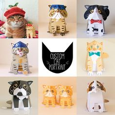 Print and make as many toys as you wish based on your own Cat! A printable template that you can give to friends, take to work or have on display! Join the #papercatclub on Instagram! Printable Custom Cat portrait paper craft / 3D Cat portrait / Cat by KooeePapercraft