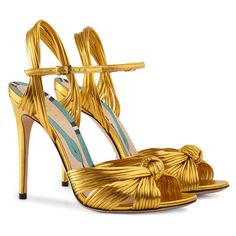 Gucci Metallic Gold Sandal ($795) ❤ liked on Polyvore featuring shoes, sandals, gucci, spiked heel shoes, gucci sandals, metallic gold sandals and heeled sandals