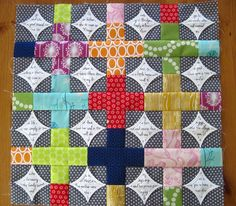 Awesome cathedral windows + pluses quilt in progress | by Deana in the SewSewModern5 swap on Flickr