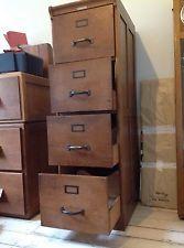 Vintage 4 Drawer Wooden Filing Cabinet   Dutch