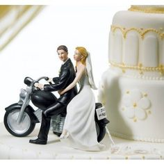 "Motorcycle ""Get-away"" Harley Davidson Wedding Custom Couple Cake Topper Figurine"