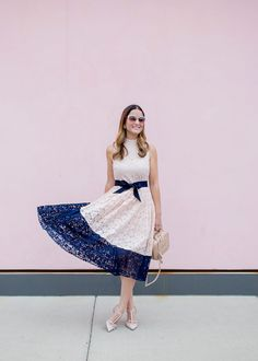 Pink and navy lace dress // Style Charade