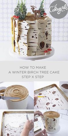Our Birch Tree Cake tutorial will show you how to make this show stopping Winter inspired cake for Christmas. Shop supplies and see the photo steps! decorating How To Make A Winter Birch Tree Cake Pretty Cakes, Cute Cakes, Beautiful Cakes, Amazing Cakes, Christmas Desserts, Christmas Treats, Christmas Cakes, Holiday Cakes, Christmas Birthday Cake