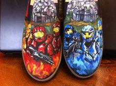 RvB custom sneakers by SterlingKicks on Etsy, $100.00