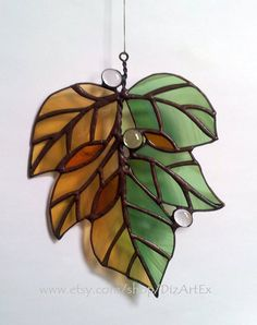 "Stained Glass Pendant ""September"". Autumn, leaves. Handmade. Home decor.  DizArtEx. Made to order."