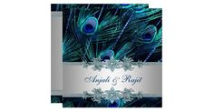 Elegant royal blue peacock wedding invitations. Formal bright peacock blue peacock feathers with elegant silver bride and groom front name band. The beautiful blue peacock wedding invitation is easily customized for your event by adding your event details, font style, font size & color, and wording.