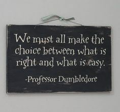 We must all make the choice between what is right and what is easy. -Albus Dumbledore
