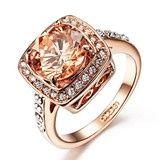 #beeskneesgems     Cushion Cut Champage Swarovski Crystal Ring    Beautiful Ring!!!