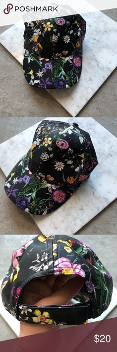 eb238c5c3bdff 3  25 SALE Black Faux Leather Floral Print Hat NWOT Black faux leather  floral print
