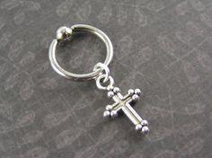Tiny Cross Cartilage Hoop Captive Bead Ring by EyeCandyBodyJewelry