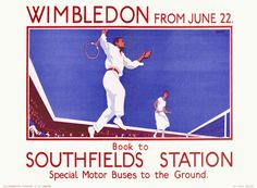 Tennis and Art Deco Vintage Lawn Tennis Match ad. London Underground ad for the Wimbledon Championships (date unknown) Art Deco poster issued by the French railway company PLM for the holiday. London Underground, Tennis Posters, Sports Posters, Travel Posters, Transport Posters, Railway Posters, London Transport Museum, Public Transport, Wimbledon Tennis