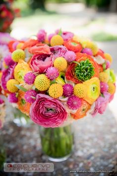 Bubble Gum Bridal Bouuqet in Colorful Pink, Orange, and Yellow - The French Bouquet - Ace Cuervo Photogrpahy